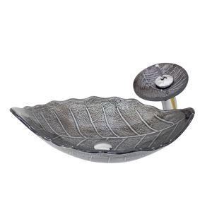 洗面ボウル&蛇口セット 手洗い鉢 洗面器 強化ガラス製 排水金具付 オシャレ 葉型 灰色 HAM0052