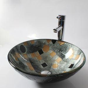 洗面ボウル 手洗い鉢 洗面器 洗面ボール ガラス 排水金具付 オシャレ HAM0058