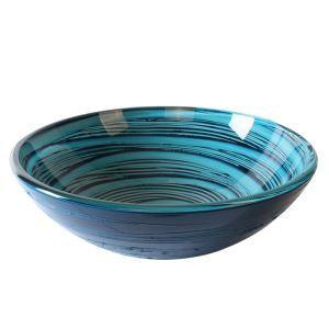 洗面ボウル 手洗い鉢 洗面器 洗面ボール ガラス 排水金具付 オシャレ 青線柄 HAM0060