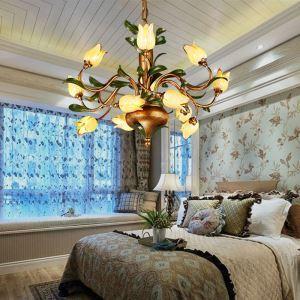 LEDシャンデリア リビング照明 吹き抜け照明 瑠璃 豪華 チューリップ 12灯 LED対応