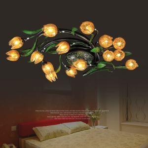 LEDシーリングライト 照明器具 リビング照明 店舗照明 寝室照明 瑠璃 ボヘミア風 蓮花 15灯 LED対応 RI013