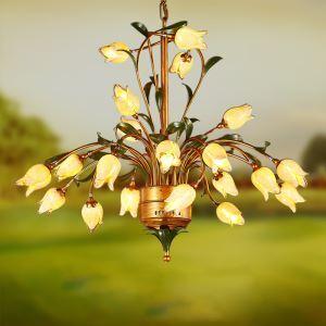 LEDシャンデリア リビング照明 吹き抜け照明 瑠璃 豪華 チューリップ 21灯 LED対応