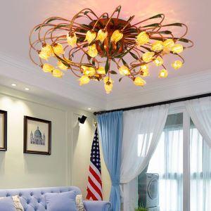 LEDシーリングライト 照明器具 リビング照明 店舗照明 寝室照明 瑠璃 ボヘミア風 チューリップ 24灯 LED対応 RI046