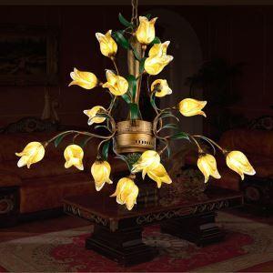 LEDシャンデリア リビング照明 吹き抜け照明 瑠璃 豪華 チューリップ 18灯 LED対応