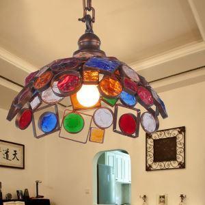 ペンダントライト 照明器具 リビング照明 店舗照明 寝室照明 彩色瑠璃 ボヘミア風 1灯 RI20221