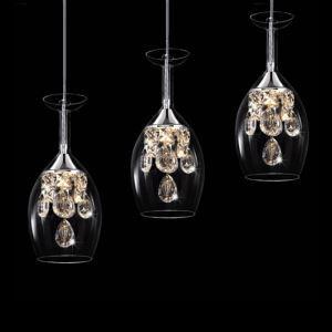 LEDペンダントライト 照明器具 天井照明 玄関 店舗 クリスタル付 ワイングラス型 3灯