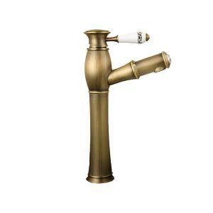 洗面蛇口 スプレー混合栓 洗髪用水栓 ホース引出式 水道蛇口 立水栓 ブロンズ色 TB006