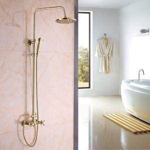 浴室シャワー水栓 レインシャワーシステム シャワーバー ヘッドシャワー+ハンドシャワー バス水栓 Ti-PVD 金色 YMS-015