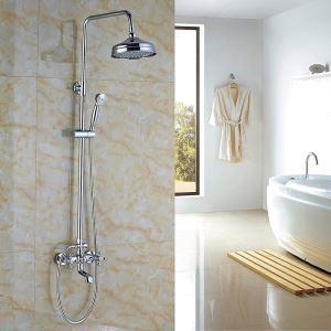 レインシャワーシステム シャワーバー ヘッドシャワー+ハンドシャワー+蛇口 バス水栓 クロム YMS-021