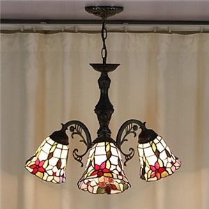 シャンデリア ステンドグラスランプ ティファニーライト 照明器具 リビング照明 ダイニング照明 花柄C 3灯