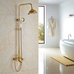 浴室シャワー水栓 レインシャワーシステム シャワーバー ヘッドシャワー+ハンドシャワー+蛇口 バス水栓 Ti-PVD 金色 YMS-019