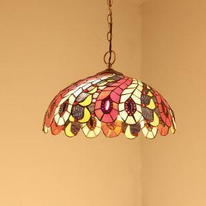 ペンダントライト ステンドグラスランプ 天井照明 欧米風 孔雀の羽 2灯 40cm