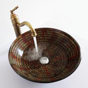 洗面ボウル 手洗い鉢 洗面器 手洗器 洗面ボール 洗面台 ガラス 排水金具付 アンティーク調 LC6856RST