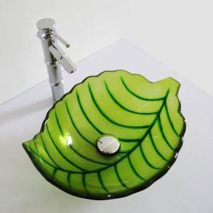 洗面ボウル 手洗い鉢 洗面器 洗面ボール ガラス 排水金具付 オシャレ 葉型 緑色 LC6875BB