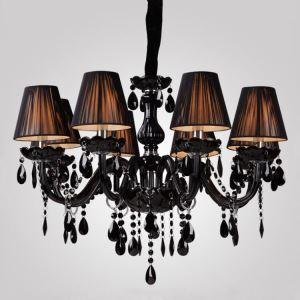 シャンデリア 照明器具 店舗照明 リビング照明 店舗照明 クリスタル シェード付 黒色 オシャレ 豪華 8灯 LED電球対応