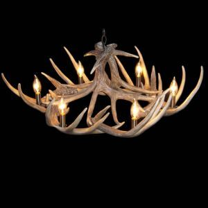 シャンデリア ペンダントライト リビング照明 照明器具 鹿角照明 店舗 寝室 樹脂製 6灯 茶褐色 北欧風 LED対応