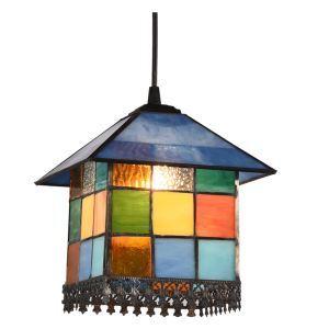 ペンダントライト ステンドグラスランプ ティファニーライト 天井照明 オシャレ ハウス型 1灯 BEH4550