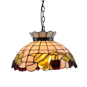 ペンダントライト ステンドグラスランプ ティファニーライト リビング照明 ダイニング照明 寝室照明 リンゴ&なし柄 2灯 D40cm LTPL013