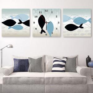 壁掛け時計 壁絵画時計 アート時計 静音時計 オシャレ 3枚パネル クジラ