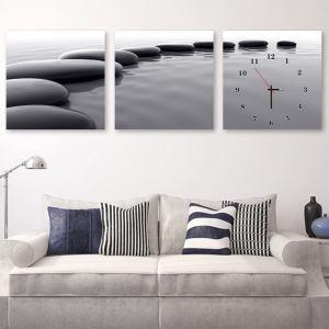 壁掛け時計 壁絵画時計 アート時計 静音時計 オシャレ 3枚パネル 人生路