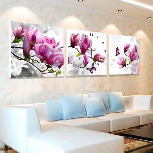 壁掛け時計 壁絵画時計 アート時計 静音時計 オシャレ 3枚パネル 花