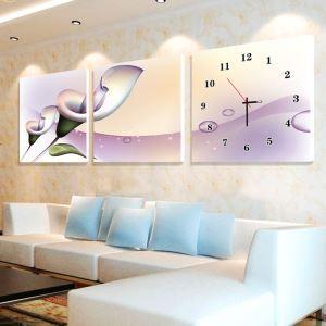 壁掛け時計 壁絵画時計 アート時計 静音時計 オシャレ 3枚パネル 紫色 ユリ