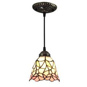 ティファニーライト ペンダントライト ステンドグラスランプ 照明器具 玄関照明 欧米風 花柄 1灯 6in PL072