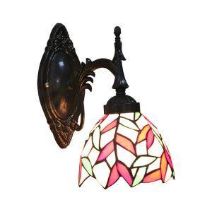 ステンドグラスランプ 壁掛け照明 ブラケット ウォールライト 照明器具 葉柄 1灯 6in WL001