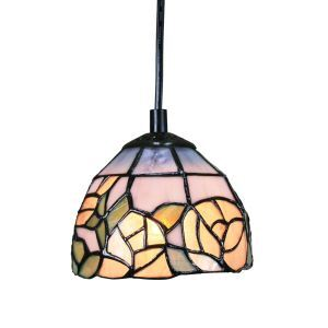 ティファニーライト ペンダントライト ステンドグラスランプ 照明器具 玄関照明 欧米風 花柄 1灯 6in PL078