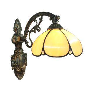 ステンドグラスランプ 壁掛け照明 ティファニーライト ブラケット 玄関照明 黄色 1灯 8in WL009