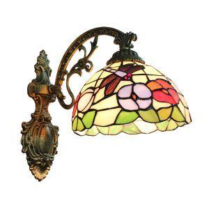 ステンドグラスランプ 壁掛け照明 ティファニーライト ブラケット 玄関照明 蝶&花柄 1灯 8in WL012