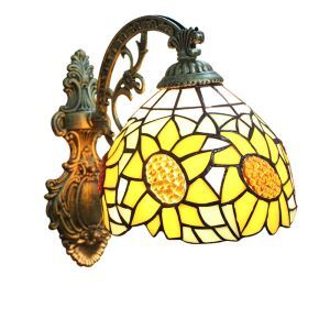 ステンドグラスランプ 壁掛け照明 ブラケット 玄関照明 ひまわり柄 1灯 8in WL014