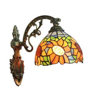 ステンドグラスランプ 壁掛け照明 ブラケット 玄関照明 ひまわり柄 1灯 8in WL017