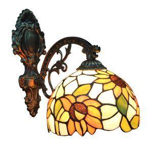 ステンドグラスランプ 壁掛け照明 ブラケット 玄関照明 ひまわり柄 1灯 8in WL018