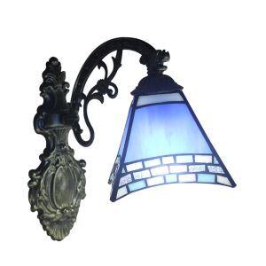 ステンドグラスランプ 壁掛け照明 ティファニーライト ブラケット 玄関照明 照明器具 青色 1灯 8in WL021
