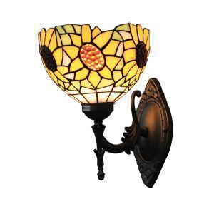 ステンドグラスランプ 壁掛け照明 ブラケット 玄関照明 ひまわり柄 1灯 8in WL035