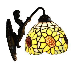 ステンドグラスランプ 壁掛け照明 ブラケット 玄関照明 ひまわり柄 1灯 8in WL041