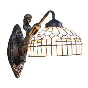 ステンドグラスランプ 壁掛け照明 ブラケット 玄関照明 照明器具 1灯 8in WL046