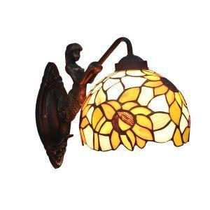 ステンドグラスランプ 壁掛け照明 ティファニーライト ブラケット 玄関照明 ひまわり柄 1灯 8in WL047