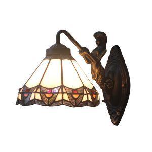 ステンドグラスランプ 壁掛け照明 ティファニーライト ブラケット 玄関照明 ウォールライト 1灯 8in WL049