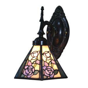ステンドグラスランプ 壁掛け照明 ティファニーライト ブラケット 玄関照明 花柄 1灯 8in WL055