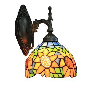ステンドグラスランプ 壁掛け照明 ブラケット 玄関照明 ひまわり柄 1灯 8in WL056