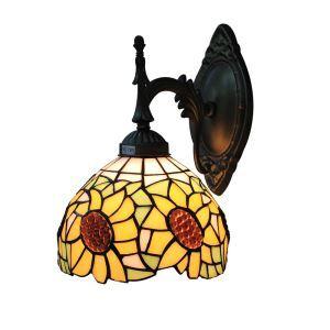 ステンドグラスランプ 壁掛け照明 ブラケット 玄関照明 ひまわり柄 1灯 8in WL061