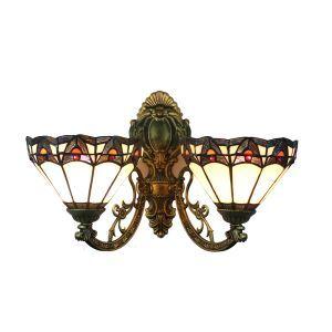 ステンドグラスランプ 壁掛け照明 ブラケット 玄関照明 照明器具 2灯 8in WL064