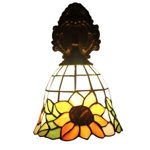 ステンドグラスランプ 壁掛け照明 ブラケット 玄関照明 ひまわり柄 1灯 12in WL109