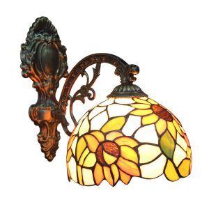 ステンドグラスランプ 壁掛け照明 ティファニーライト ブラケット 玄関照明 ひまわり柄 1灯 8in WL110