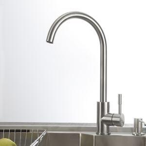 キッチン蛇口 台所蛇口 冷熱混合水栓 水道蛇口 ステンレス鋼 ヘアライン