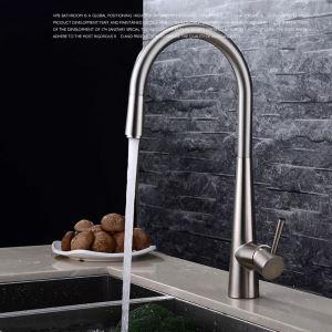 キッチン水栓 台所蛇口 引出し水栓 冷熱混合水栓 水道金具 ヘアライン FTTB019