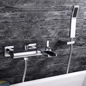 浴室シャワー水栓 バス蛇口 ハンドシャワー 混合栓 蛇口付き 風呂用 クロム FTTB028