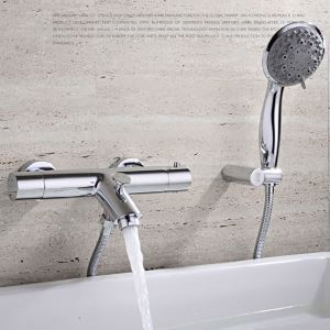 浴室シャワー水栓 壁付サーモスタット式混合栓 バス蛇口 ハンドシャワー 風呂用 クロム FTTB029